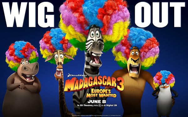 click to free download the wallpaper--Madagascar 3 in High Resolution and 3D Style, Colorful Worsted Hair and Funny Facial Expression, Anyone Can Burst into Laughter - TV & Movies Wallpaper