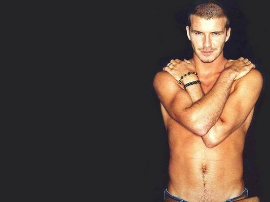 click to free download the wallpaper--Man Wallpaper, David Beckham Half Naked, Smiling Facial Expression, He is Appealing