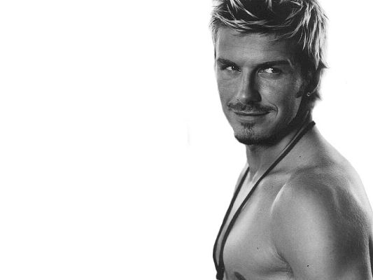 click to free download the wallpaper--Man Wallpaper, David Beckham Smiling, Black and White Style, He is Such a Handsome