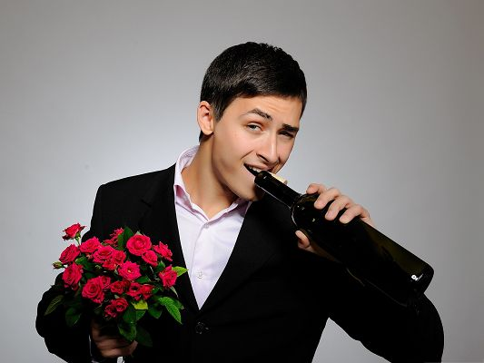 click to free download the wallpaper--Man With Flowers, Gentleman with Red Roses, Are You Going to Propose?