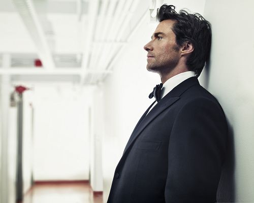 click to free download the wallpaper--Man in Suit, Hugh Jackman in Black Suit, Professional and Good-Looking