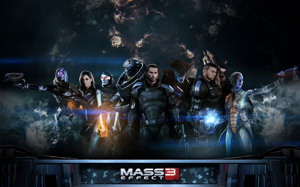 click to free download the wallpaper--Mass Effect 3 Extended Cut Post in 1920x1200 Pixel, All Guys in Serious Look, Together They Can Accomplish Any Task - TV & Movies Post
