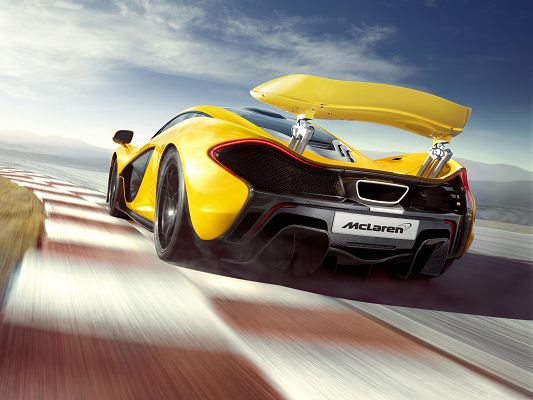 click to free download the wallpaper--McLaren Supercar Wallpaper, Yellow Car in Pretty Full Speed, Amazing Look