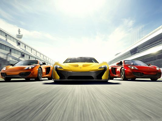 click to free download the wallpaper--McLaren Supercars Background, Three Cars in a Line, Great Speed, Be Careful!