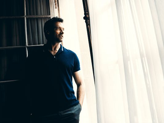 click to free download the wallpaper--Men in T-Shirt, Hugh Jackman In Polo Shirt, Standing by White Curtain