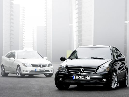 click to free download the wallpaper--Mercedes Benz Cars Wallpaper, Two Luxurious Cars Among Misty Scenery