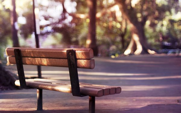 click to free download the wallpaper---Mere Surrounding Scenes and Emphasized Long Chair, a Typical Park Scene is Presented - HD Natural Scenery Wallpaper