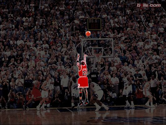 click to free download the wallpaper--Michael Jordan Last Shot Wallpaper in 1024x768 Pixel, a Glowing and Memorable Figure in All NBA History - Basketball Super Stars Wallpaper
