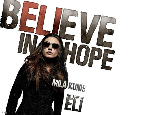 click to free download the wallpaper--Mila Kunis Book of Eli Available in 1600x1200 Pixel, Lady in Black Suit and Glasses, She is Somehow Imposing - TV & Movies Post