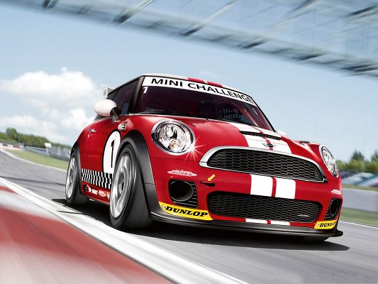 Mini Cooper Race Car, Red and Shinning Car on Straight Road, Get a High Score