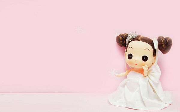 Mini Ddgir in Wedding Dress, Pink Background, She is Happy in the Romantic Scene, Enjoy Your Big Day! - HD Cartoon Wallpaper