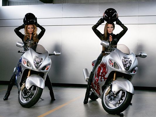 click to free download the wallpaper--Moto Girls Picture, Two Girls in Black Tight Suit, Nice in Look