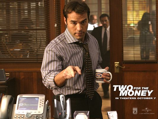 click to free download the wallpaper--Movie Posts, Two For The Money, Man in Coffee Cup, is Kept Busy, Businessman Look