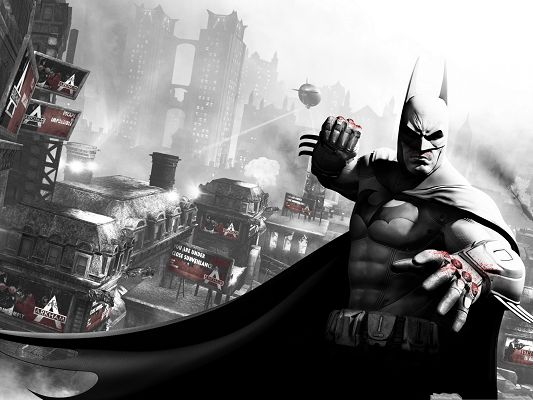 click to free download the wallpaper--Movie Wallpaper Free, Batman Arkham City, Fight to Blood, Never Step Back