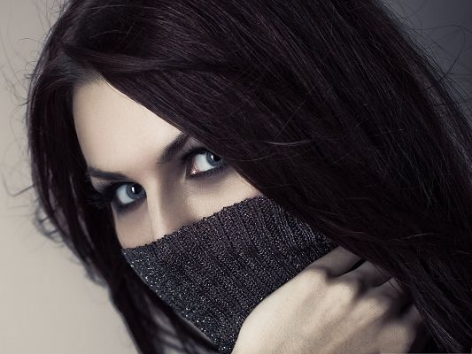 Mysterious Girl Photography, Seductive Blue Eyes, Face Covered with Gray Cloth