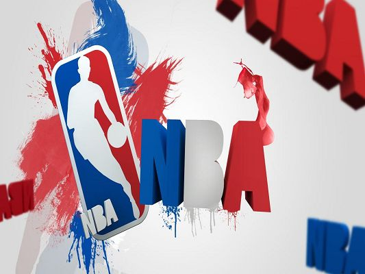 NBA Logo HD Post in 3D Style and 1024x768 Pixel, Shows Up at the Best Timing - the Playoffs, Never to be Missed by Funs - Basketball Super Stars Wallpaper