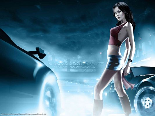 click to free download the wallpaper--NFS Underground 2 Model Post in 1600x1200 Pixel, Girl Walking Among Luxurious Cars, Smoke is All Around, Too Good to be True - TV & Movies Post