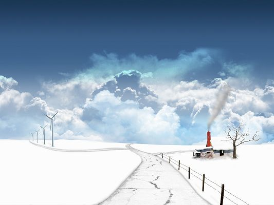 click to free download the wallpaper--Natural Landscape Image, Typical Winter Scene, Thick White Snow, a Narrow Road