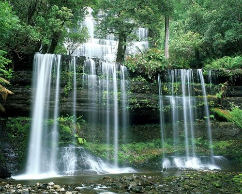 Natural Landscape Images, Russell Falls, Green Scenes Around, Miracle of Nature