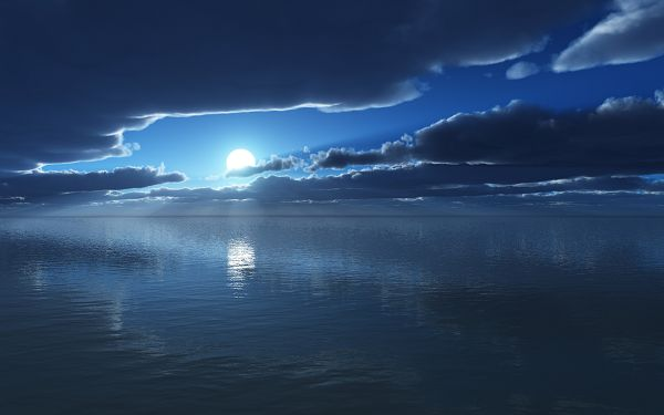 Natural Scene Pics - Moon Time Post in Pixel of 2560x1600, the Sea About to Fall Asleep, the Moon Generating Soft Light