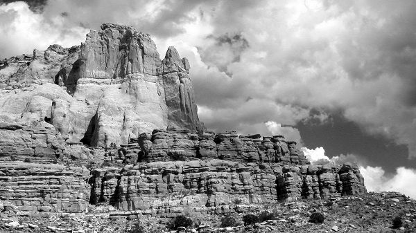 Natural Scenery Wallpaper - The Image in Black and White Style, Big Stones Reaching the Sky