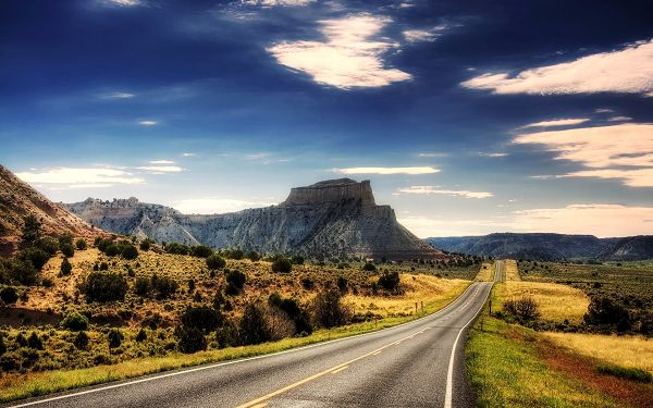 Natural Scenery picture - A Straight and Clean Road Among Great Natural Scene, Wonderful Walking or Driving Experience