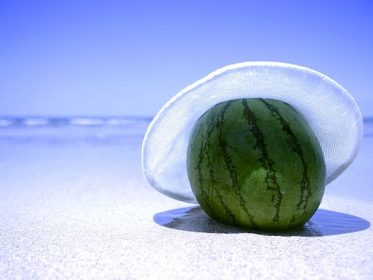 Nature Landscape Image, Watermelon in Sun Hat, by Beach Side, a Fine Day