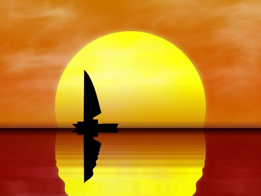 click to free download the wallpaper--Nature Landscape Image, a Lonely Boat in Sail, the Rising Sun, Gentle Ripples