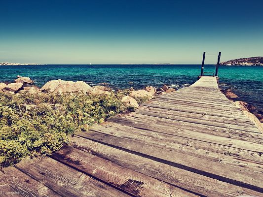 click to free download the wallpaper--Nature Landscape Images, Summer Pier, the Peaceful Blue Sea, Combines Incredible Look