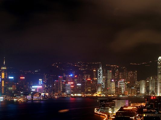 click to free download the wallpaper--Nature Landscape Pics, Hong Kong at Night, Better than the Daytime