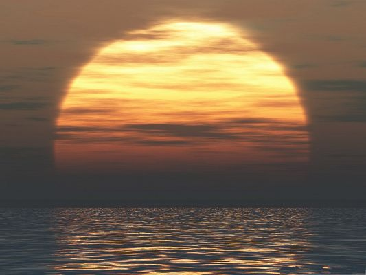 Nature Landscape Pics, the Rising Sun Over the Sea Surface, Amazing Scene