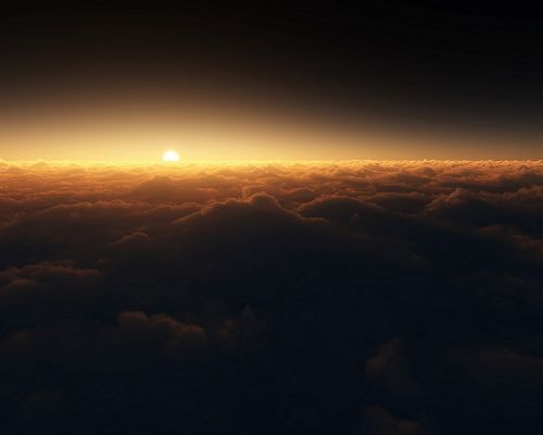 click to free download the wallpaper--Nature Landscape Pics, the Sun Over Thick Clouds, Weakening Them Up