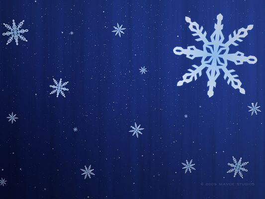 Nature Landscape Wallpaper, Snowflake on Blue Background, Simple and Fit