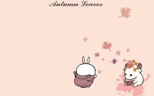 Naughty MashiMaro Throwing Autumn Fallen Leaves to His Friend, the Other is Indifferent to This - HD MashiMaro Wallpaper