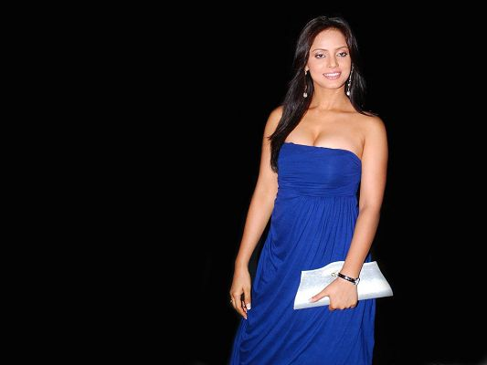 Neetu Chandra HD Post in 1024x768 Pixel, Lady in Blue Skirt and White Little Bag, Body Figure is Perfect, is Quite an Impression - TV & Movies Post