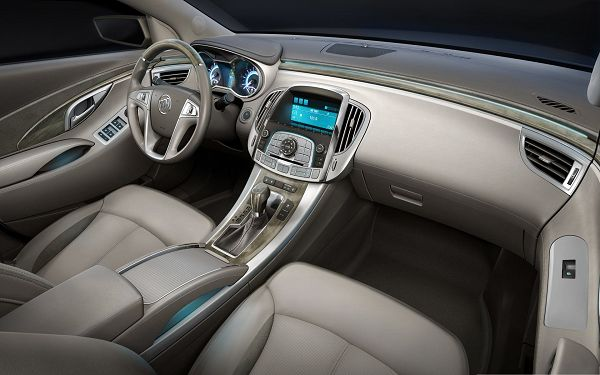 click to free download the wallpaper--Nice Car Wallpaper, Buick Car Interior, Blue Lights, Great to Drive