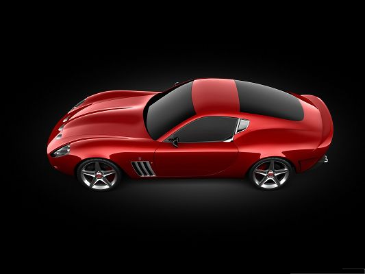 click to free download the wallpaper--Nice Cars Picture, Red Ferrari Sport Car on Black Background, Amazing Look