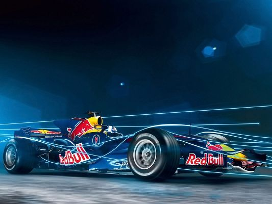 click to free download the wallpaper--Nice Cars Wallpaper, Red Bull Formula, Straight Blue Lines, Amazing Look