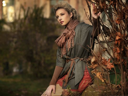 Nice Girl Pics, Young Lady in Thick Clothes, Hands on Brown Leaves and Branch