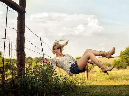 Nice Girls Photography, Beautiful Girl Falling Down, Is She on Swing Set?