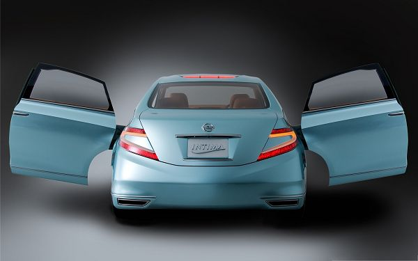 click to free download the wallpaper--Nissan Cars Wallpaper, Blue Intima Car, Wide Open Doors Like Stretched Wings