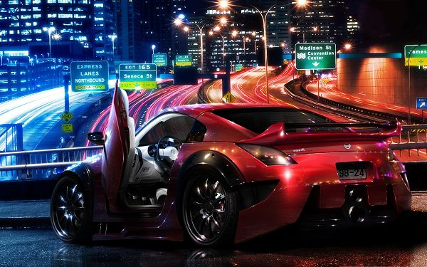 click to free download the wallpaper--Nissan Roadster Car, Red Luxurious Car Among Great Night Scene