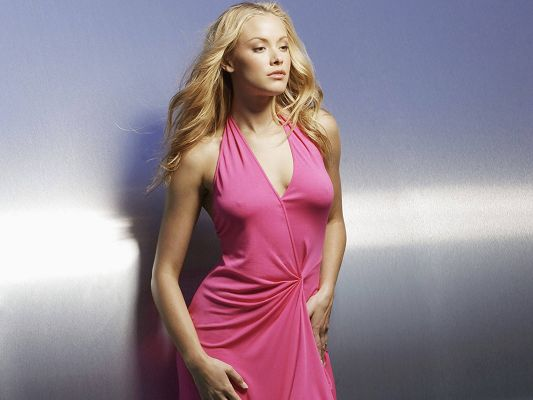 click to free download the wallpaper--Norwegian American Kristanna Loken Post in Pixel of 1600x1200, Lady in a Pink Long Dress, Bra-Free, Impressive Body Figure - TV & Movies Post