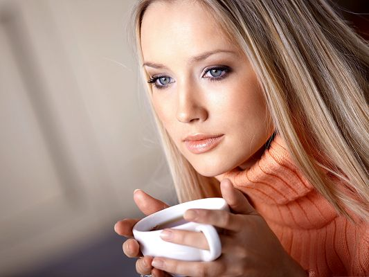 Nostalgic Girl Image, Drinking Strong Coffee, Deep in Her Thought