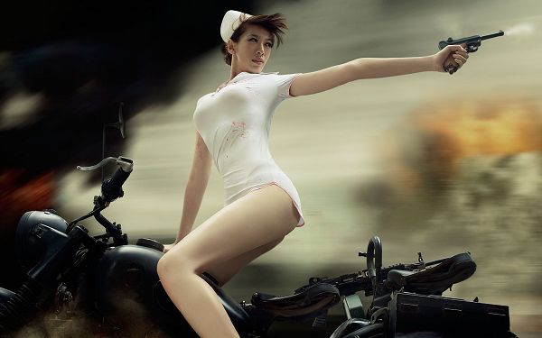 Nurse on Incredibly Fast Motorcycle, Looking Back to Make the Shoot, This is a Good Girl - HD Hot Girl Wallpaper