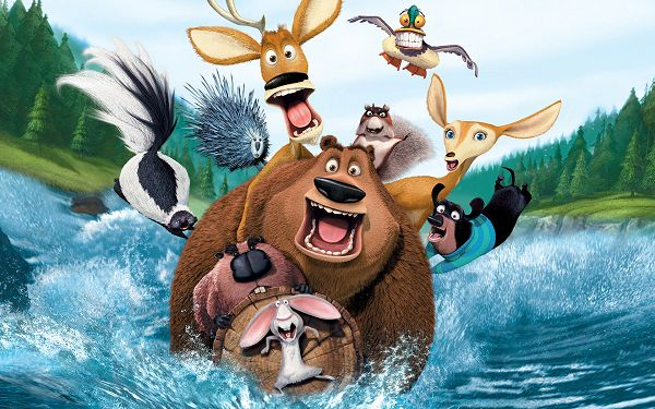 click to free download the wallpaper--Open Season Movie Post in Pixel of 1920x1200, a Group of Animals in a Fast Running River, Mouth is Wide Open, Something Big Must be Ahead - TV & Movies Post