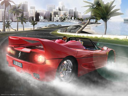 click to free download the wallpaper--Outrun Post in Pixel of 1600x1200, Red Ferrari Car in Pretty Full Speed, Driving Experience Must be Wonderful, Enjoy the Attention It Will Gain - HD Cars Wallpaper