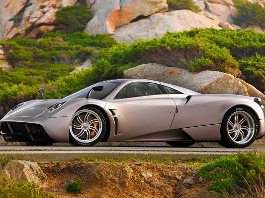 click to free download the wallpaper--Pagani Huayra and Nature Landscape, Super Car in Great Nature Scene