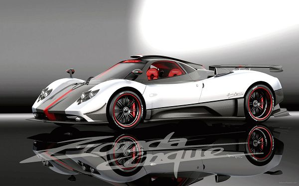 click to free download the wallpaper--Pagani Zonda Cinque HD Post in Pixel of 2560x1600, White Car Wholly Reflected on Black Background, Shall Strike an Impression - HD Cars Wallpaper