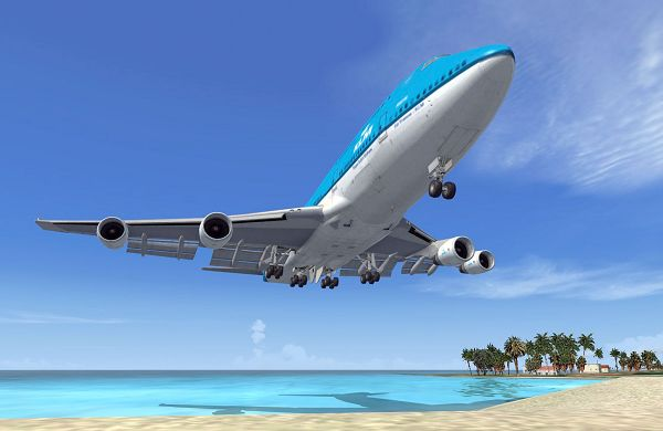 Paris Air Show, Microsoft Flight Simulator, Boeing 747 Landing at St Maarten Airport